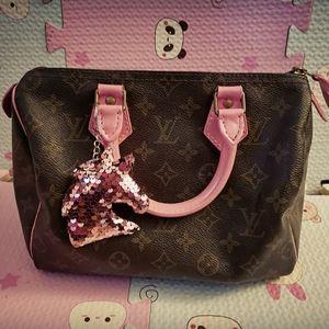 Louis vuitton custom pink speedy 25 bag